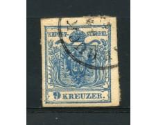 1850 - LOTTO/14103 - AUSTRIA - 9 Kr. AZZURRO - USATO
