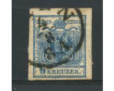 1850 - LOTTO/14105 - AUSTRIA - 9 Kr. AZZURRO - USATO