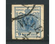 1850 - LOTTO/14106 - AUSTRIA - 9 Kr. AZZURRO - USATO