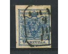1850 - LOTTO/14107 - AUSTRIA - 9 Kr. AZZURRO - USATO