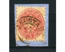 1863/64 - LOTTO/14127 - AUSTRIA - 5 KR. ROSA - USATO SU FRAMMENTO