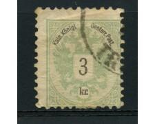 1883 - LOTTO/14167 - AUSTRIA - 3 K. VERDE  - USATO