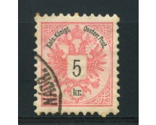 1883 - LOTTO/14176 - AUSTRIA - 5 Kr. ROSA - USATO