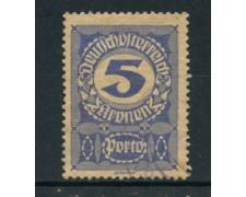 1920 - LOTTO/14284A - AUSTRIA - SEGNATASSE 5 K. CARTA GRIGIA - USATO