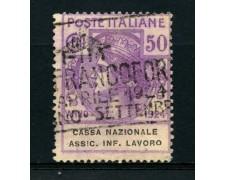 1924 - LOTTO/14348 - REGNO - 50c. CASSA NAZ. INFORTUNI  LAVORO - USATO