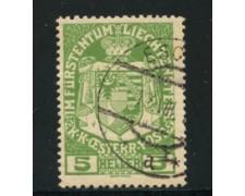 1917 - LOTTO/14423A - LIECHTENSTEIN - 5 h. VERDE - USATO