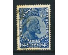 1912 - LOTTO/14426 - LIECHTENSTEIN- 25 h. PRINCIPE GIOVANNI - USATO