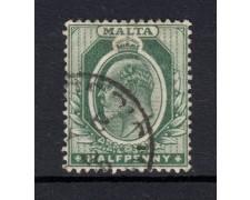 1903/04 - LOTTO/14447 - MALTA - 1/2p. VERDE RE EDOARDO - USATO