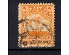 1907 - LOTTO/14454 - MALTA - 4,5p. ARANCIO VEDUTA - USATO
