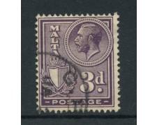 1926/27 - LOTTO/14470 - MALTA - 3p. VIOLETTO RE GIORGIO - USATO