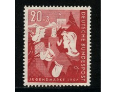 1952 - LOTTO/14485 - GERMANIA FEDERALE - 20+3p. OPERE GIOVENTU' - LING.