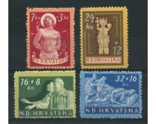 1944 - LOTTO/14606 - CROAZIA - PRO INVALIDI DI GUERRA 4v. - LING.