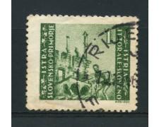 1946 - LOTTO/14720 - ISTRIA LITORALE SLOVENO - 1 L. VERDE  - USATO
