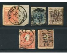 LOMBARDO VENETO - 1850/1858 - LOTTO/14819 -  INSIEME DI  5 FRANCOBOLLI USATI