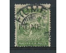 1918 - LOTTO/14876 - FIUME - 5 FILLER VERDE - USATO