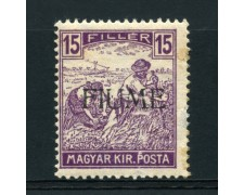 1918 - LOTTO/14877 - FIUME - 15 FILLER VIOLETTO - NUOVO
