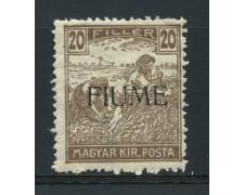 1918 - LOTTO/14878 - FIUME - 20 FILLER BRUNO GRIGIO - LING.