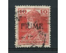 1918 - LOTTO/14880 - FIUME - 10 FILLER ROSSO  - USATO