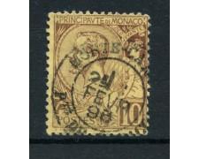 1891 - LOTTO/15036  MONACO - 10 CENT. LILLA BRUNO - USATO