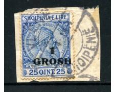 1914 - LOTTO/15062 - ALBANIA - 1 Gr. su 25 QINT BLU - USATO SU FRAMMENTO