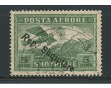 1927 - LOTTO/15075 - ALBANIA - POSTA AEREA  5Q. VERDE  - USATO