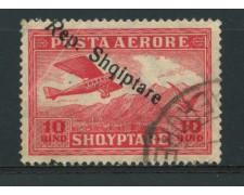 1927 - LOTTO/15076 - ALBANIA - POSTA AEREA 10q. SOPRASTAMPATO - USATO