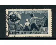 1947 - LOTTO/15090 - ALBANIA - 20 q. COSTRUZIONE FERROVIA - USATO