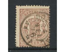1869/71 - LOTTO/15142 - OLANDA - 1/2c. BRUNO  STEMMA - USATO