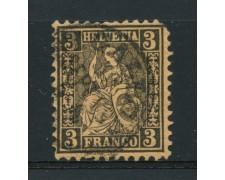 1862 - LOTTO/15217 - SVIZZERA - 3 cent. NERO - USATO