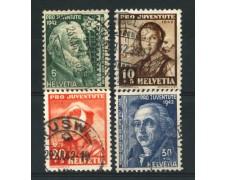 1942 - LOTTO/15249 - SVIZZERA - PRO JUVENTUTE 4v. - USATI