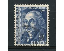 1942 - LOTTO/15250 - SVIZZERA - 30+10 c. PRO JUVENTUTE - USATO