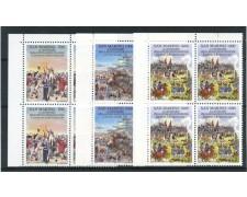 1989 - SAN MARINO - RIVOLUZIONE FRANCESE 3v. - QUARTINE NUOVI - LOTTO/15305Q