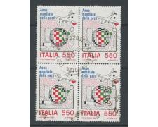 1986 - LOTTO/15488 - REPUBBLICA - 550 LIRE ANNO DELLA PACE - QUARTINA USATI