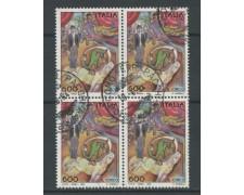 1994 - LOTTO/15493 - REPUBBLICA - 600 LIRE  IL CIRCO - QUARTINA USATI