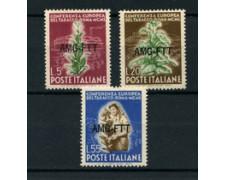 1950 - LOTTO/15841 - TRIESTE  A - CONFERENZA TABACCO 3v. - LING.