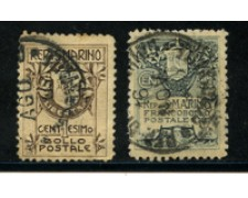 1910 - LOTTO/16060- SAN MARINO - STEMMA II° TIPO 2v. - USATI