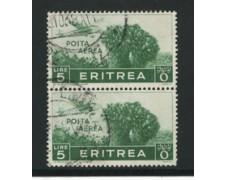 1936 - LOTTO/16290A - ERITREA - 5 LIRE POSTA AEREA COPPIA - USATI