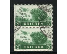 1936 - LOTTO/16290 - ERITREA - 5 LIRE POSTA AEREA COPPIA - USATI