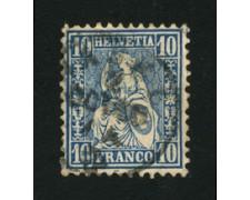 1862 - LOTTO/16323B - SVIZZERA - 10c. AZZURRO HELVETIA SEDUTA - USATO