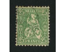 1867/78 - LOTTO/16325 - SVIZZERA - 25c. VERDE HELVETIA SEDUTA - USATO