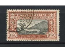 1923 - LOTTO/16347 - REGNO - 50c. A. MANZONI - USATO F.to SORANI