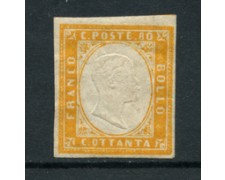 SARDEGNA - 1861 - LOTTO/16474 - 80 cent. GIALLO ARANCIO - LING.
