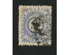 1884/88 - LOTTO/16587 - BRASILE - 50r. BLU STEMMA - USATO