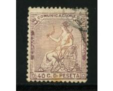 1873 - LOTTO/16601 - SPAGNA - 40 cent. VIOLETTO ALLEGORIA - USATO