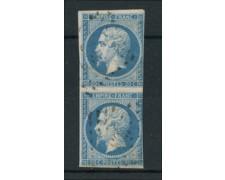 1854 - LOTTO/16676 - FRANCIA - 20c. AZZURRO COPPIA - USATI