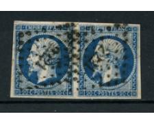 1854 - LOTTO/16678  FRANCIA - 20c. AZZURRO SCURO COPPIA - USATI