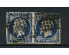 1854 - LOTTO/16679 - FRANCIA - 20 CENT. AZZURRO SCURO - COPPIA USATA