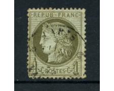 1871/75 - LOTTO/16689 - FRANCIA - 1 CENT. VERDE OLIVA CERERE - USATO