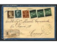 1945 - LOTTO/16726 - LUOGOTENENZA - RACCOMANDATA DA NISSORIA A COMO