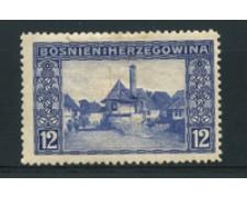 1912 - LOTTO/16746 - BOSNIA ERZEGOVINA - 12 h. OLTREMARE - LING.